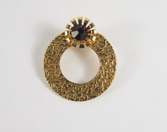 Circle Gold Tone Brooch Vintage 60s Jewelry