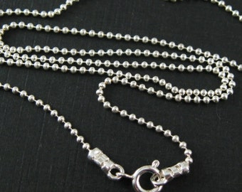 Sterling Silver Necklace,Chain-1.2mm Ball Chain Necklace,Beaded Chain Necklace,Silver Chain Necklace-Finished Necklace-(16inches)-SKU:601050