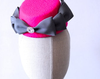 Hot Pink Cocktail Hat Hand Blocked Sloped Percher Hat Asymmetrical Fascinator