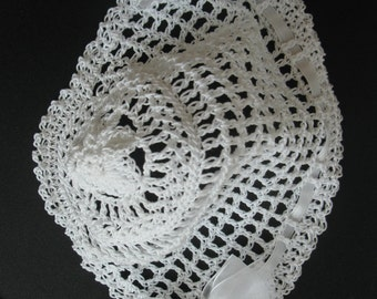 Crocheted Newborn Infant Baby Girl Hat Christening Bonnet Handmade Baptism Bonnet Knit Baby Hat  Baby Bonnet with Pearls and Sheer Bows