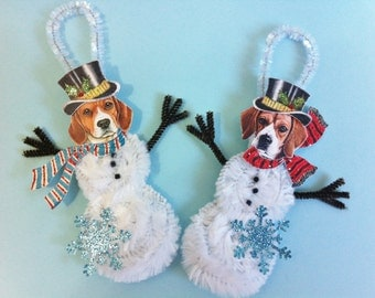 Beagle SNOWMAN vintage style CHENILLE ornaments set of 2 feather tree