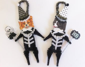 Papillon SKELETON Halloween vintage style CHENILLE ORNAMENTS set of 2