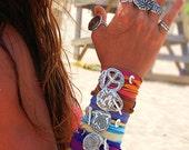 Spring Music Festival Jewelry, Coachella Jewelry, SXSW Jewelry, Outdoor Concert Festival Silk Wrap Bracelet Silver Bonaroo Bracelet