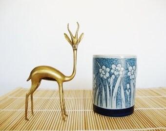 vintage daffodil narcissus flowers blue mug otagiri cup