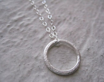 Sterling Silver Circle Necklace- Textured, Chain, Charm
