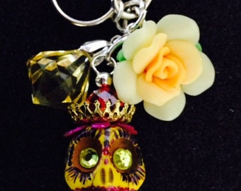 Rockabilly Day of the Dead Steam Punk Giant Hand-Painted 30mm Skull Key Ring  Key Hook OOAK