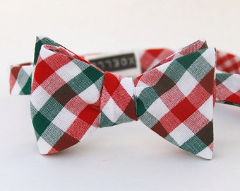 red & green check freestyle bow tie  //  Christmas bow tie  //  self tie bow tie