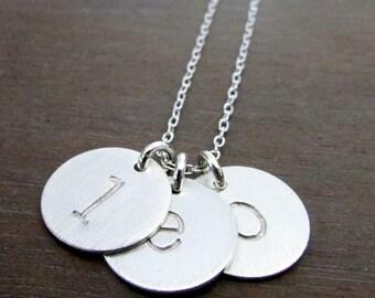 Initial Necklace | Silver Letter Necklace | Typewriter Letter Necklace | Hand Stamped Charm Necklace Sterling Silver Chelsea  E. Ria Designs