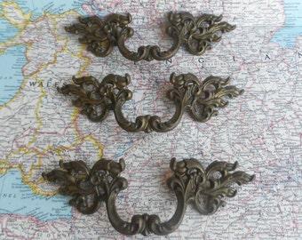 SALE! 3 mid century ornate darker brass metal French Provincial handles