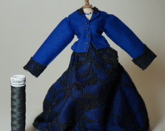 Historic blue black lace dress on mannequin - 12th scale miniature fashion by CWPoppets