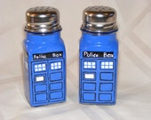 Hand painted glass salt and pepper shakers, Dr. Who Tardis design