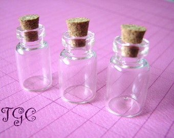 20 Glass Vials Bottles Small Jars  23 x 13mm with Corks Miniature
