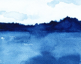 "Waterscape, Out on the Water, Reproduction Print of Watercolor Painting, Blue, 4"" x 4"" or 8"" x 8"""