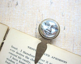 Moon Bookmark, Full Moon, Silver Moon Bookmark, Celestial, Man in the Moon, Stocking Stuffer, Book Lover, Book Gift, Book Marker