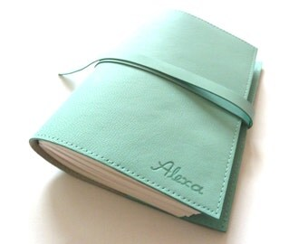 FREE SHIPPING, Personalised Leather Journal Refillable, Sea Green