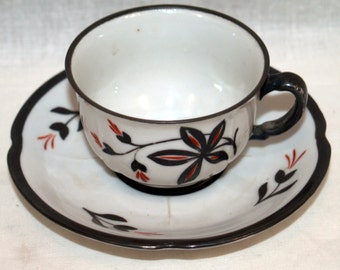 Bavarian Lustre Cup and Saucer US Zone Handmalerei Germany Luster Handpainted