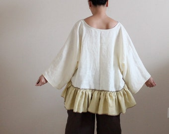 lagenlook ruffle linen outfit blouse with gaucho made to order / plus size lagenlook outfit / plus size gaucho pants / ruffle linen blouse