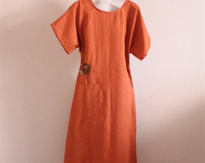 custom linen poppy flower long length dress / casual linen dress / plus size linen dress / every day linen dress / summer linen dress