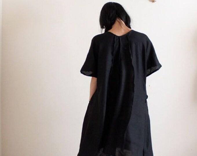 running lines tropical hanky linen slip tunic dress made to order / summer linen slip dress / plus size slip dress /casual linen tunic dress