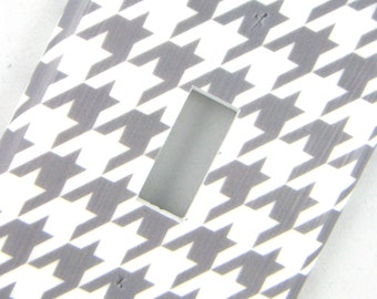 Houndstooth Light Switch Cover Switchplate -- Grey and White