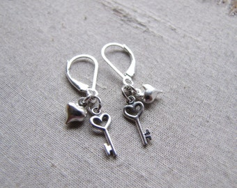 Sterling Silver Key And Heart Earrings- Key To My Heart Jewelry