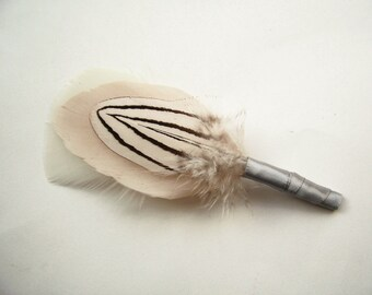 Striped Pheasant Wedding Boutonniere, Silver and Blush