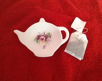 """Ceramic Teabag Holder  Pansy's  Vine 4.5"""""""
