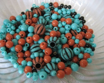 Lot of Vintage Faux Coral & Turquoise Plastic Beads