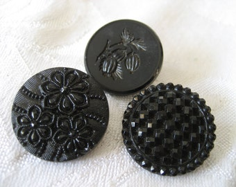 Lot of 3 ANTIQUE Black Glass BUTTONS