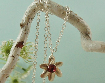 Flower Charm Necklace Birthstone Necklace Sterling Silver Charm Necklace
