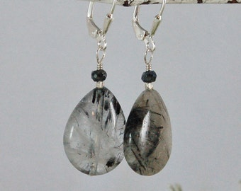 Tourmilated Quartz Rutilated Quartz Earrings Sterling Silver