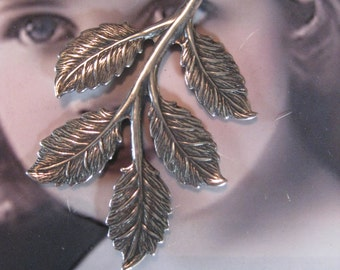 Silver Ox Plated Brass Branch with Leaves 760SOX x2