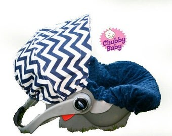 Infant Car Seat Cover, Baby Car Seat Cover in Navy Blue Chevron