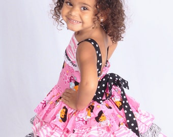 Made to Order Custom Boutique Dora Explorer Dress 4 Ruffles 12 mo 18 mo 24 mo   2 3 4 5 6