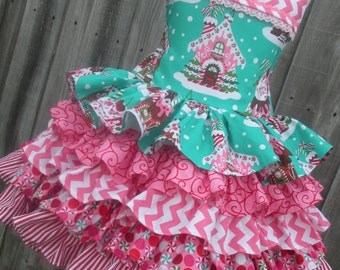 Made to Order Custom Boutique Girl Ruffles Dress Gingerbread Christmas Jolly 2 3 4 5 6 7 8
