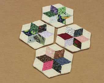 Hand Pieced Hand Quilted Coasters