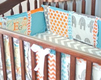 Elephant Crib Bumpers, Orange Elephant Baby Boy Bumper Pads, Aqua Blue Elephant Baby Boy Nursery Crib Bumper Pads, Gray Elephant Nursery