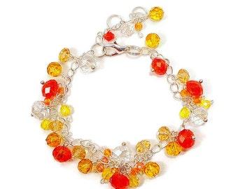 Red and Tangerine Crystal Bead  Bracelet