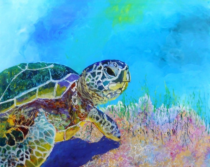 Sea Turtle Art Prints,  Kauai Hawaii, Honu Turtle, Hawaiian Turtle, Under the Sea, Sea Turtle Paintings, Honu Art, Sea Turtle Giclee