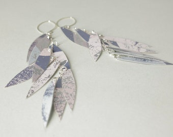 Wallpaper earrings long silver blues and lavender