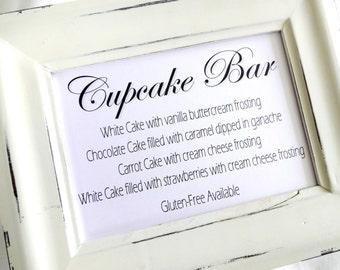 Cupcake Bar Wedding Menu Sign -  White or Ivory