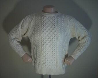Vintage Irish Cable Knit Fisherman Wool Thomas Keeling Sweater M 42