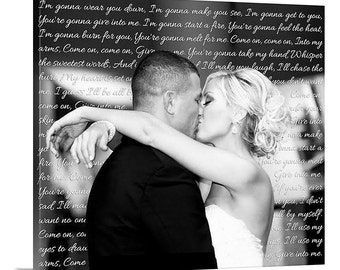 Personalized Wedding photo to canvas words, vows, personalized message to spouse 24X24 inches
