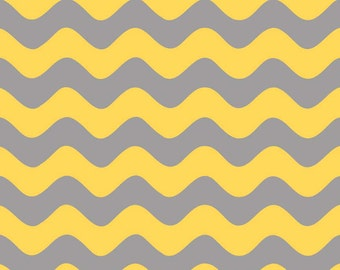 Clearance SALE!!!  RBD, Wave in Gray/Yellow (C425-11) - 1 yard