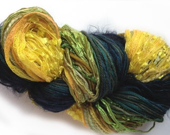 Scraplet Skeins unique multi-textured hand-tied art yarn in Tuscan Twilight gold/green/teal/blue- 120 yds.