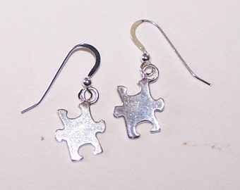 Sterling Silver  PUZZLE PIECE Earrings -  Autism
