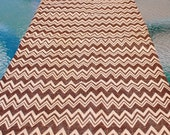 Handmade Burlap Table Runner Brown Chevron Brown Zig Zag Design Table Topper Dresser Scarf