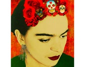 Frida Kahlo Instant Digital Download Watercolor Art Print Day of the Dead Mixed Media Collage Red Roses Skull Skeleton Orange Yellow Black