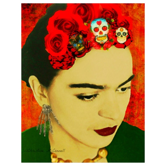 Frida Kahlo téléchargement numérique instantanée aquarelle Art Print jour de la mort mixte Collage Roses rouges crâne squelette Orange jaune noir