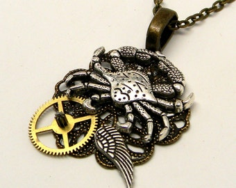Steampunk jewelry. Steampunk crab pendant necklace.